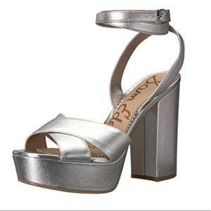 Sam Edelman Silver Metallic Chunky Heels Sandals